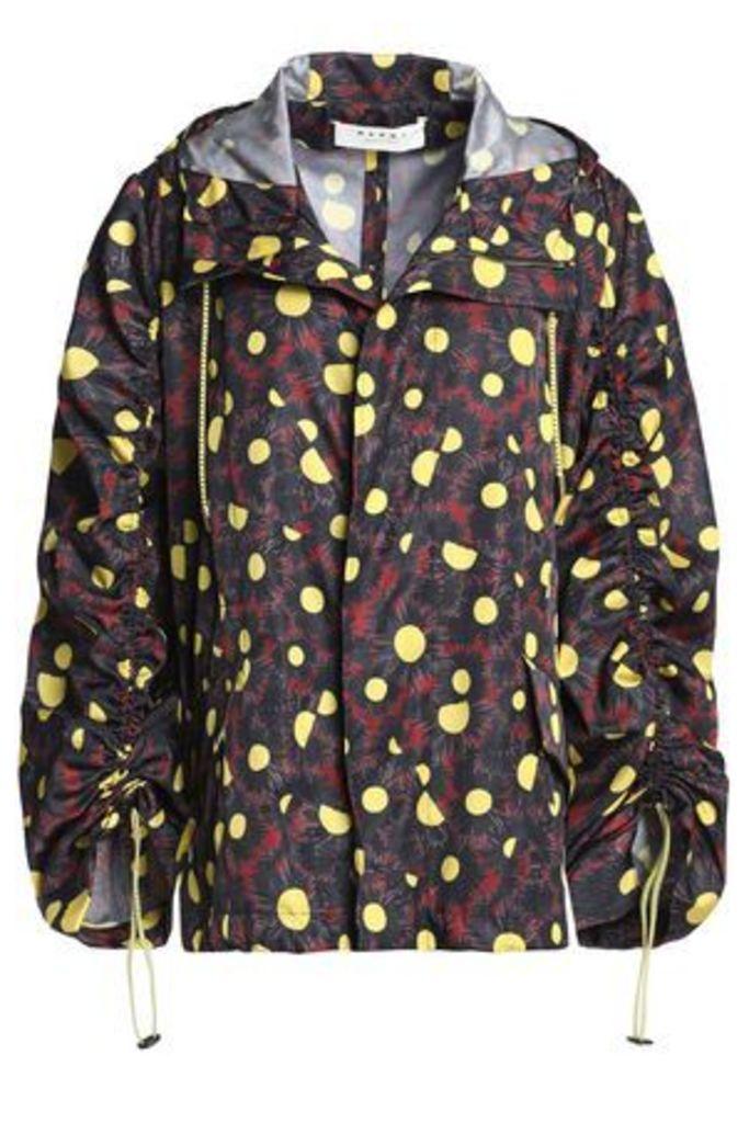 Marni Woman Printed Shell Hooded Jacket Charcoal Size 46