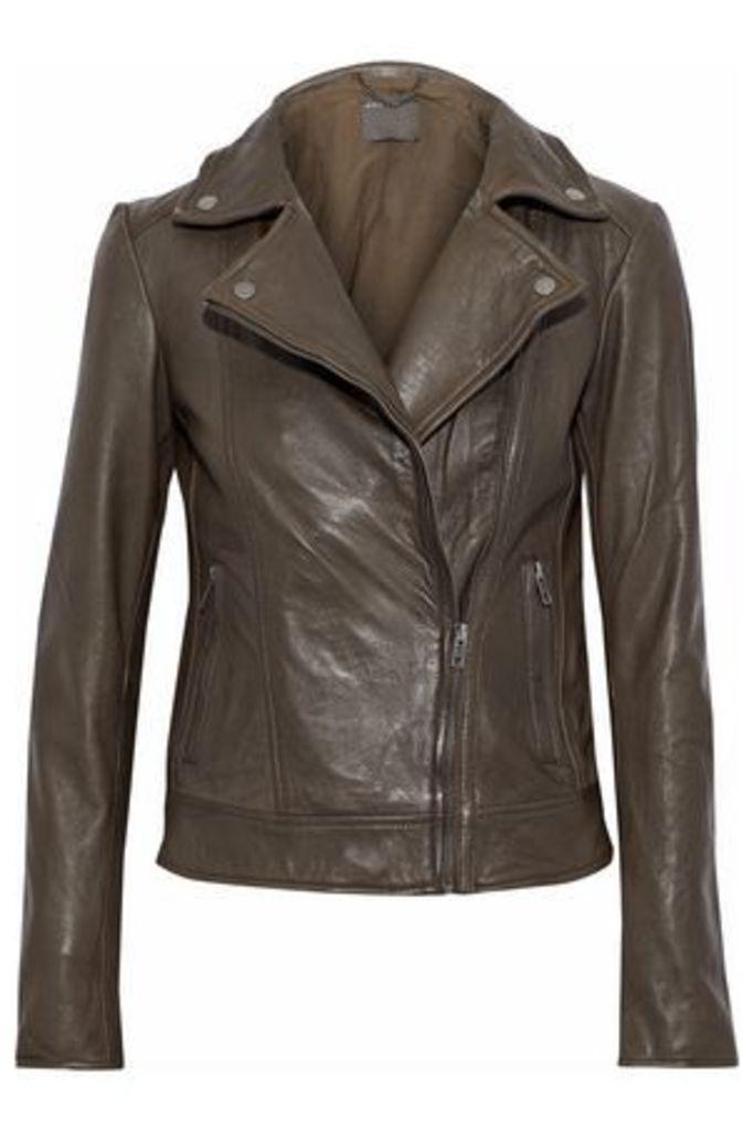 Muubaa Woman Leather Biker Jacket Army Green Size 4