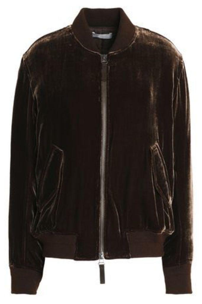 Vince. Woman Velvet Bomber Jacket Chocolate Size M