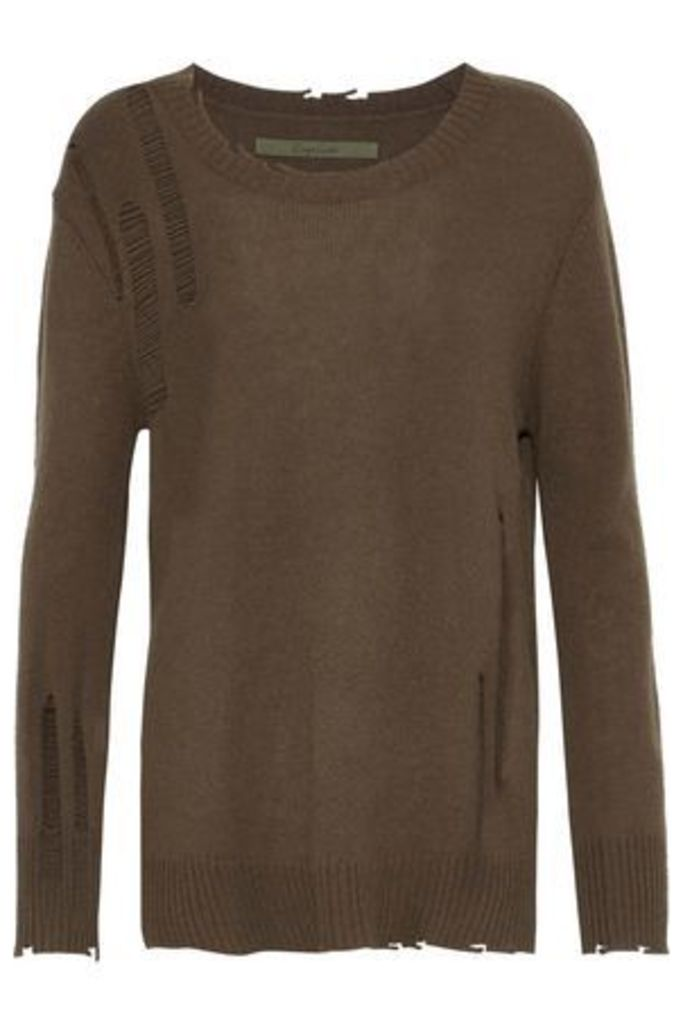 Enza Costa Woman Distressed Wool And Cashmere-blend Sweater Chocolate Size L