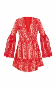 Red Lace Flared Sleeve Wrap Skater Dress, Red