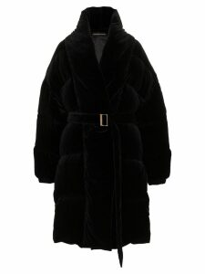Alexandre Vauthier velvet feather down cotton puffer coat - Black