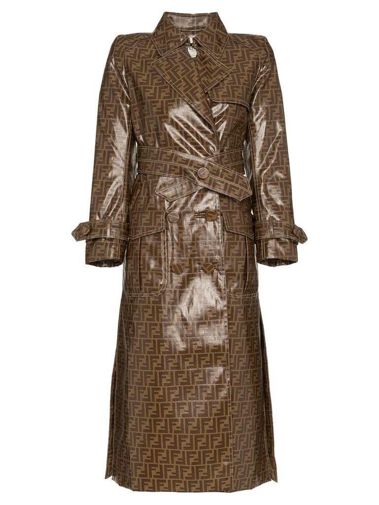 Fendi double F print plastic cotton blend trench coat - Brown