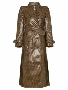 Fendi double F print plastic cotton blend trench coat - Brown