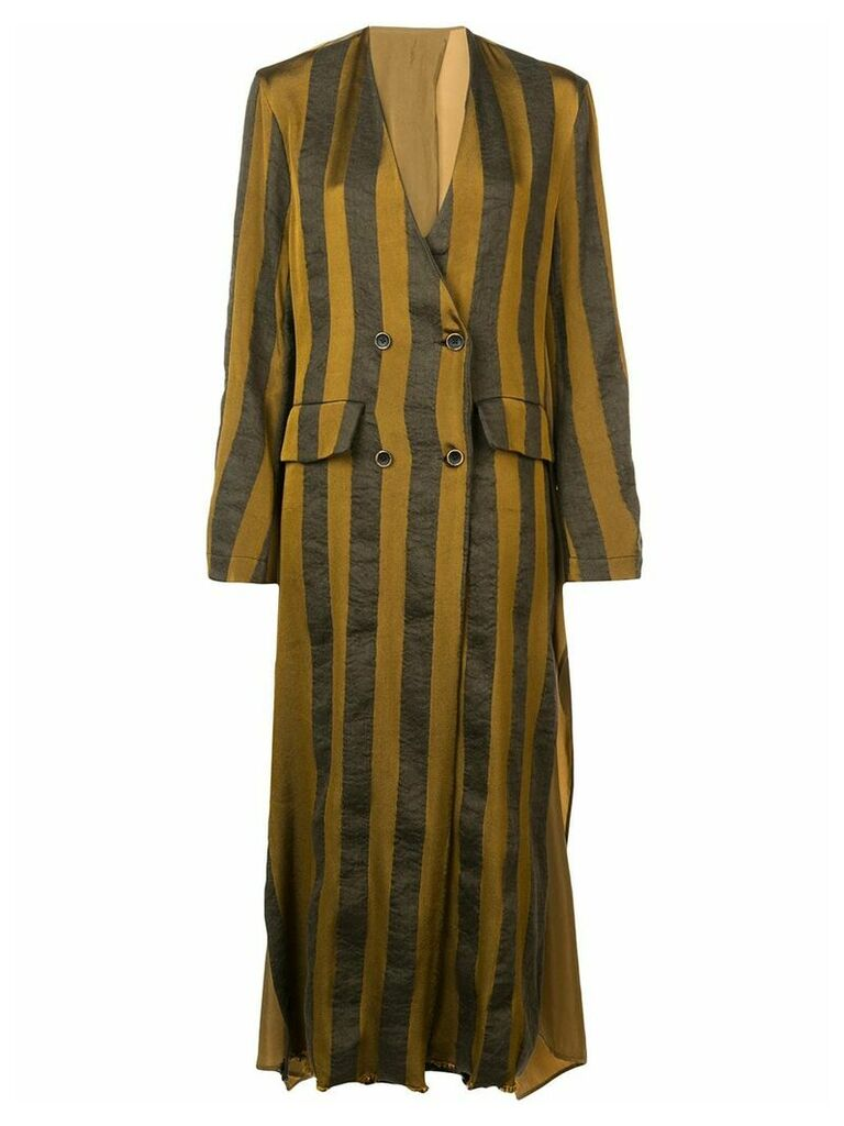 Uma Wang striped single breasted coat - Green