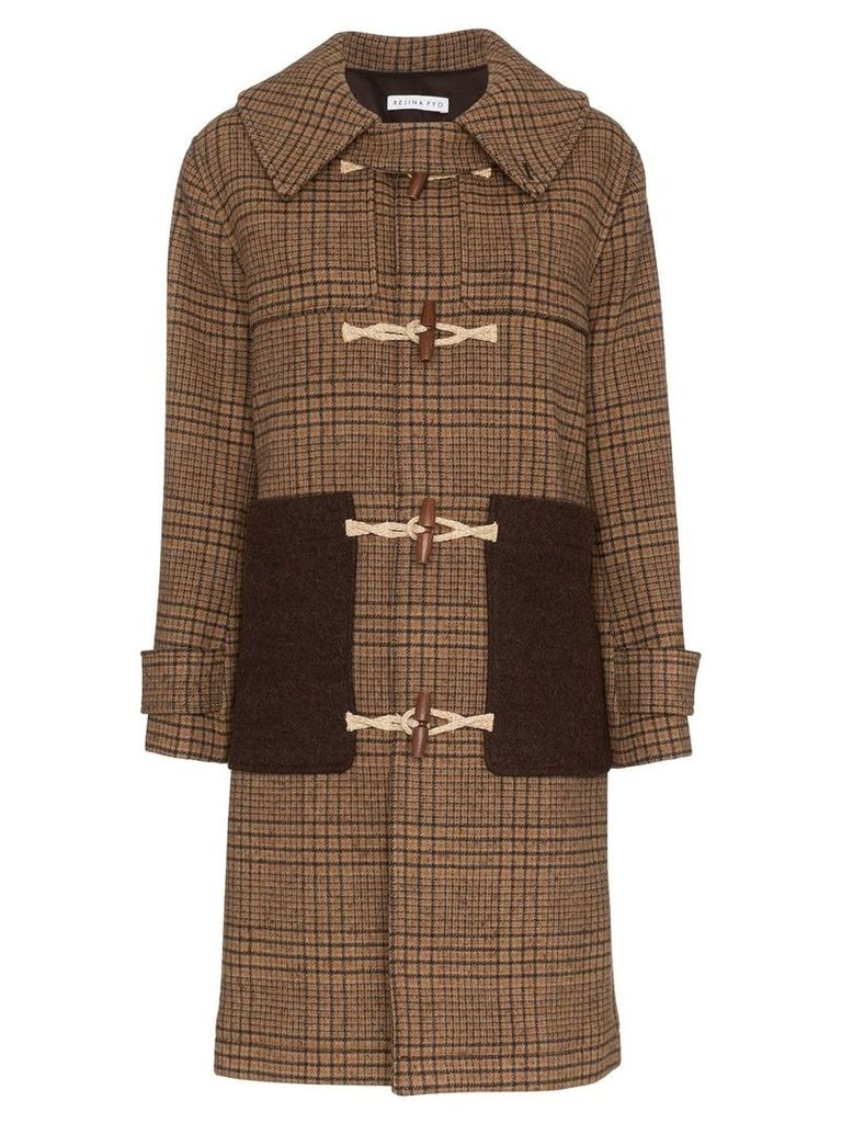 Rejina Pyo Check Print Hooded Wool Duffle Coat - Brown