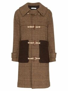 Rejina Pyo Check Print Hooded Wool Duffle Coat - Brown