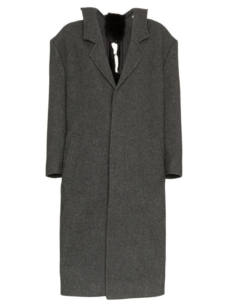 Shushu/Tong Mid Length Faux Fur Embellished Wool Coat - Grey