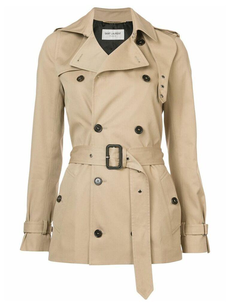 Saint Laurent short garbadine trench coat - Brown
