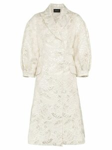 Simone Rocha Leaf Embroidered Cotton Coat - Metallic