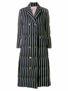 Thom Browne Chenille Banker Stripe Wool & Cotton Overcoat - Blue
