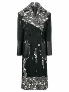 Alexander McQueen printed double-breasted coat - Black