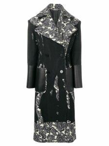 Alexander McQueen printed double-breasted coat - Black