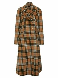Burberry Vintage Check Alpaca Wool Tailored Coat - Brown
