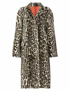 Calvin Klein 205W39nyc long leopard print coat - Neutrals