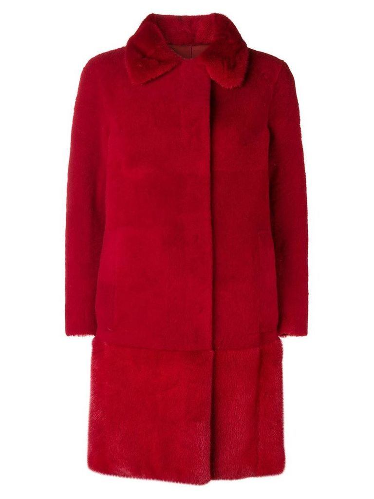 Blancha single breasted fur coat - Red