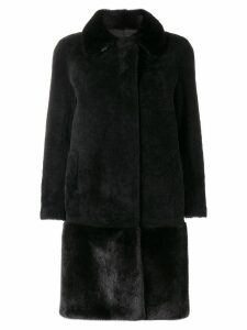 Blancha single breasted fur coat - Black