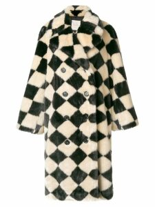 Marco De Vincenzo diamond pattern faux fur coat - Black
