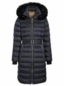 Burberry Detachable Shearling Trim Down-filled Puffer Coat - Blue