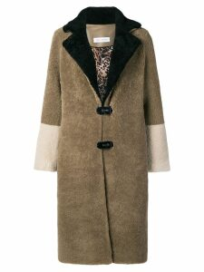 Saks Potts fur colour block coat - Brown