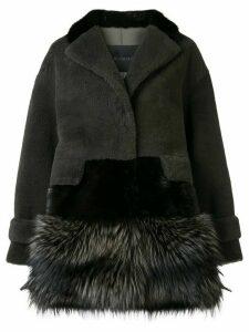 Blancha contrast material coat - Grey