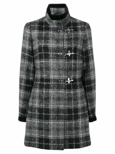 Fay lobster fastening checked coat - Blue