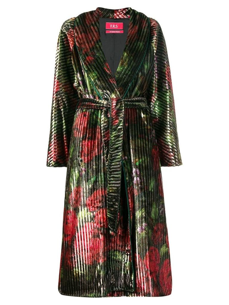 F.R.S For Restless Sleepers floral print belted coat - Green