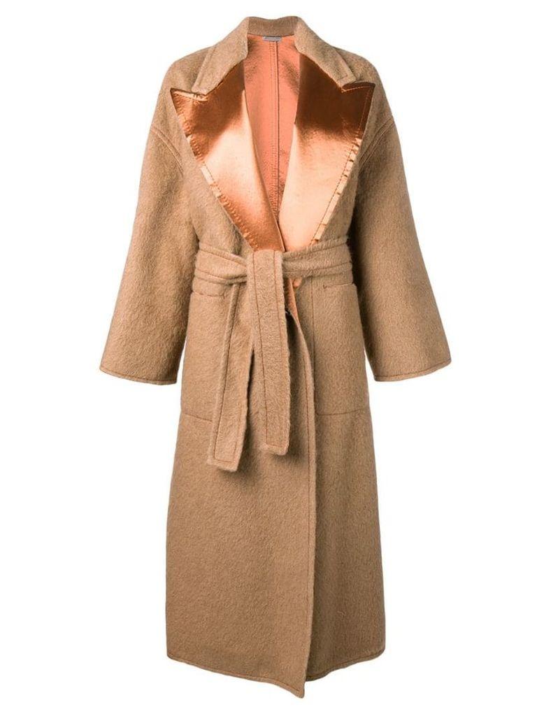 Bottega Veneta satin lapel belted coat - Neutrals