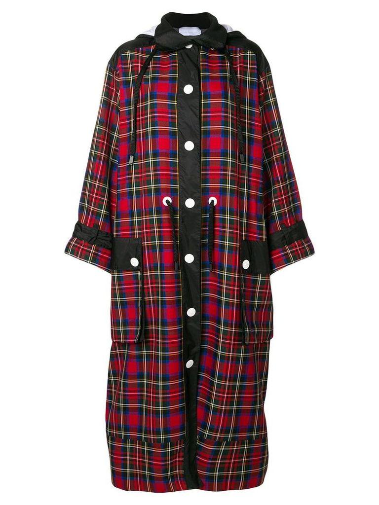 No Ka' Oi long hooded plaid coat - Red