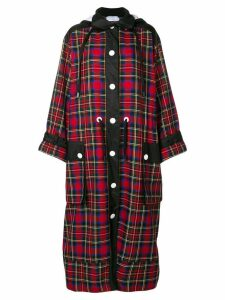 No Ka' Oi long hooded plaid coat - Red