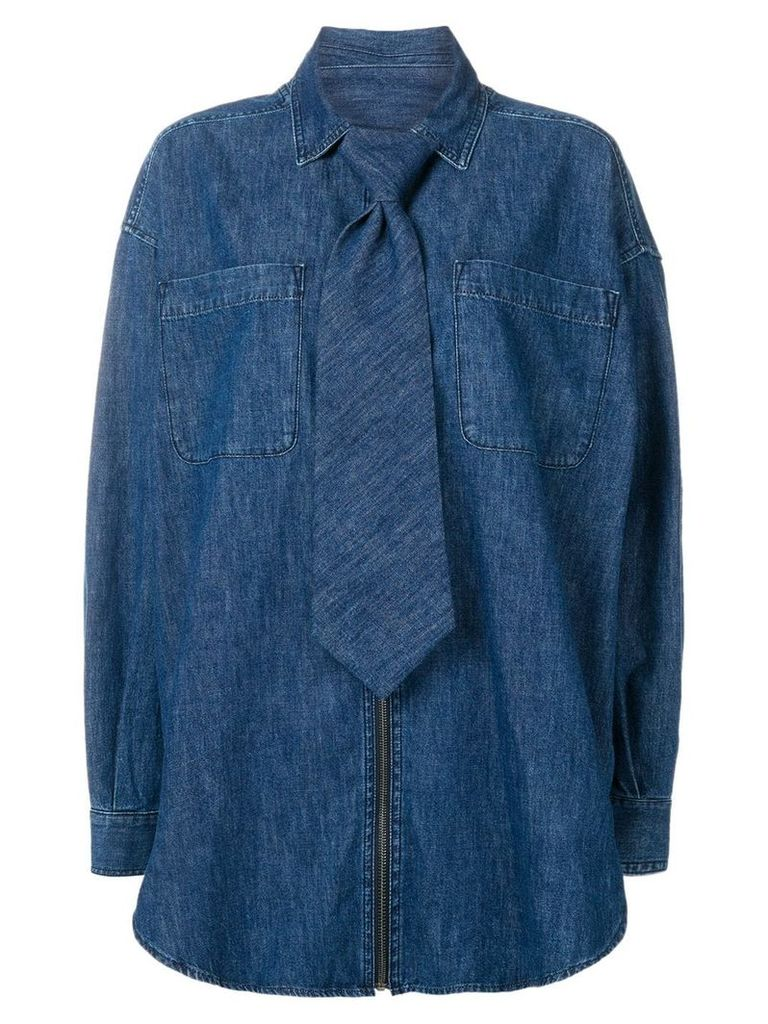 Diesel Red Tag tie detail denim shirt - Blue