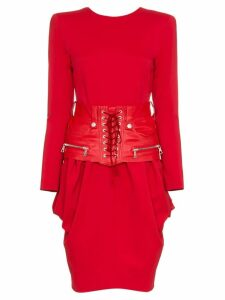 Unravel Project Belted Cotton and Leather Midi Dress - Red