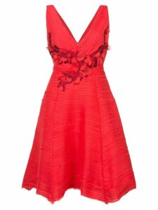 Marchesa Notte pleated cocktail dress - Red