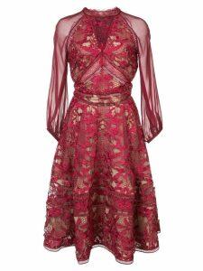 Marchesa Notte cocktail lace dress - Pink