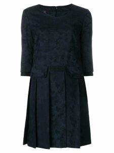 Talbot Runhof pleated shift dress - Blue