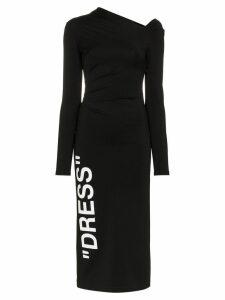 Off-White asymmetric neckline fitted midi dress - Black