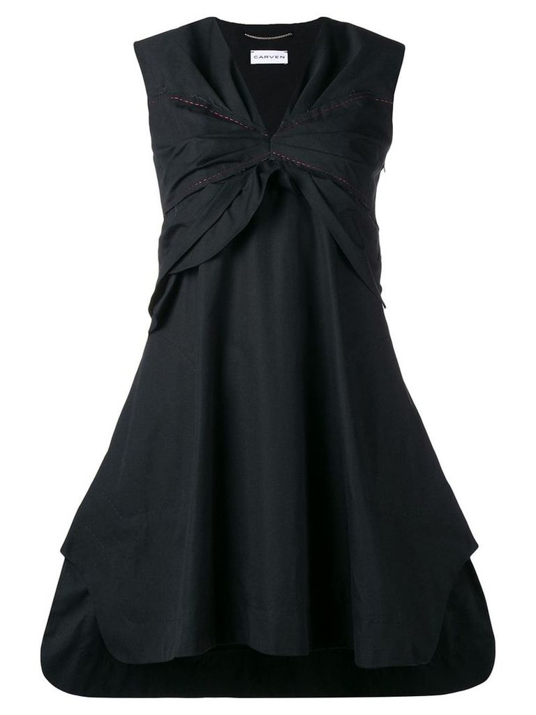 Carven ruched bust sleeveless mini dress - Black