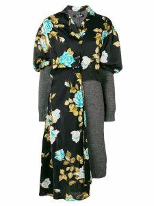 Junya Watanabe floral jersey jumper dress - Black