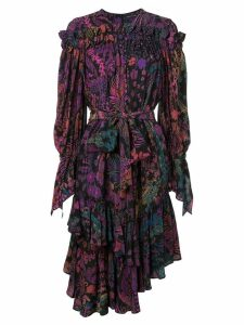 Josie Natori printed ruffle dress - Black