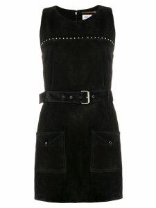 Saint Laurent calf leather belted studded dress - Black