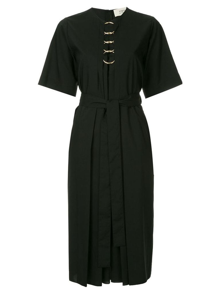 Ports 1961 O-ring detail belted dress - Black