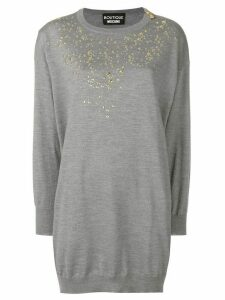 Boutique Moschino embellished sweater dress - Grey