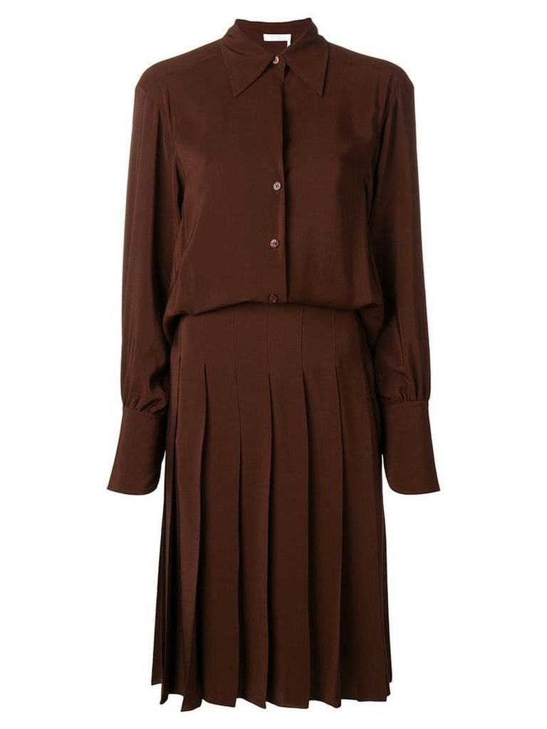 Chloé pleated shirt dress - Brown