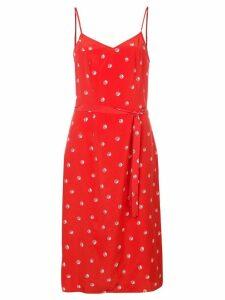 HVN dice print belted slip dress - Red