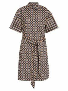Burberry Tiled Archive Print Cotton Shirt Dress - Blue