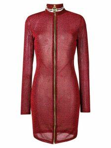 Gcds lurex fitted zip dress - Red