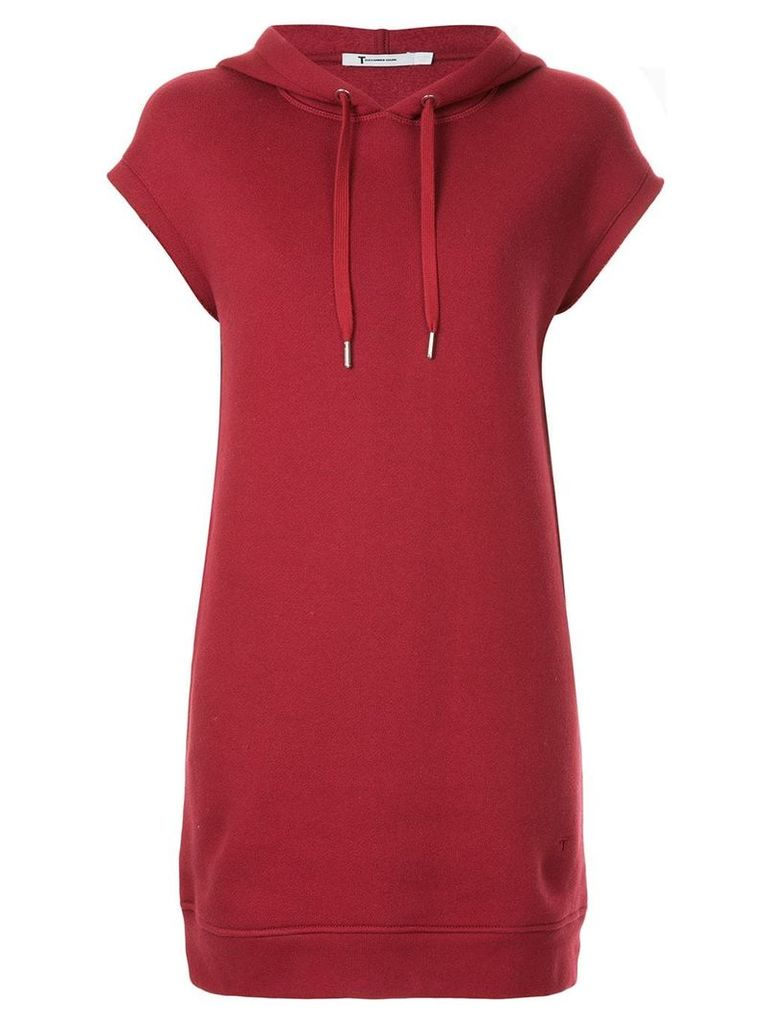 T By Alexander Wang dence fleece hoodie dress - Red