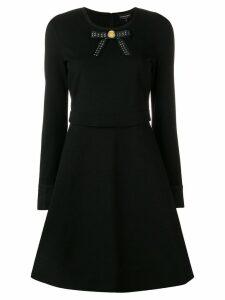 Emporio Armani bow ribbon detail skater dress - Black