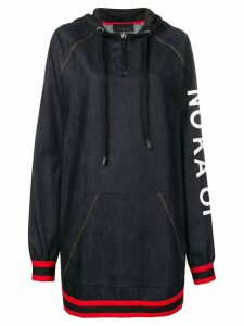 No Ka' Oi printed stripe trim zip hoodie dress - Blue