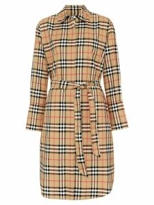 Burberry Vintage Check Cotton Tie-waist Shirt Dress - Yellow